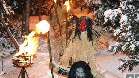 Những con quỷ trong lễ hội Namahage Sedo tại đền Shinzan, Nhật Bản (Ảnh: Getty Images)