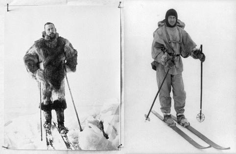 Roald Amundsen và Robert F. Scott trên ván trượt tuyết trong cuộc thám hiểm đến Nam cực. Ảnh: AMNH Library.