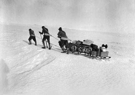 Đoàn thám hiểm Scott dùng sức người kéo hành lý trong cơn bão tuyết. Ảnh: AMNH/C. Chesek.
