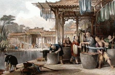 Một xưởng sản  xuất lụa ở TQ xưa.