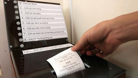 Sau khi công dân chọn một trong 8 lĩnh vực và bấm nút đã chọn sẽ lấy số thứ tự giao dịch và chờ đến lượt giao dịch thông qua loa đọc số thứ tự và số quầy công dân cần giao dịch.