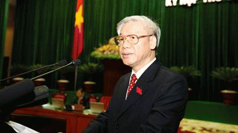 Chủ tịch Quốc hội Nguyễn Phú Trọng phát biểu khai mạc kỳ họp. Ảnh: Cổng TTĐT Chính phủ