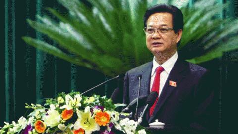 Một phần quan trọng trong báo cáo kinh tế - xã hội do Thủ tướng trình bày trước Quốc hội được dành cho Vinashin. Ảnh: Cổng TTĐT Chính phủ