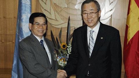 Tổng thư ký Ban Ki-moon sẽ có cuộc hội đàm với Chủ tịch nước Nguyễn Minh Triết tại Hà Nội.