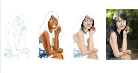 Chân dung Song Hye Kyo do họa sĩ Brett David Gordon (Mỹ) thực hiện bằng Photoshop.